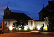The restored Calvinist Congregation Church in Sulechów by night