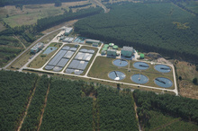 The sewage treatment plant for Zielona Góra is situated among the forests near Racula