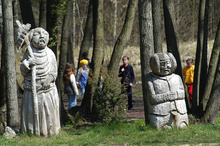 Sculptures in the park surrounding the Skansen in Ochla