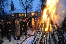 The Bukowina Watra watch – fire and carol – singing festival always attracts large numbers of folklore lovers – Zawada near Zielona Góra